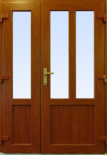 Dvoukřídlé vchodové dveře plastové