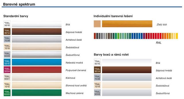 Barevné spektrum rolovacích dveří